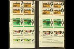 1964 InternationalGeographical Congress Ordinary & Phosphor Sets (SG 651/54 & SG 651p/54p) InCYLINDER NUMBER BLOCKS OF - 1952-.... (Elizabeth II)