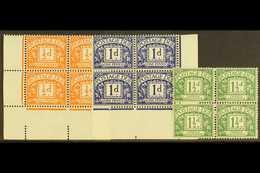 POSTAGE DUES 1955-7 ½d Orange, 1d Violet-blue & 1½d Green, Wmk Mult St Edward's Crown & E2 Sideways In Blocks Of Four, S - 1952-.... (Elizabeth II)