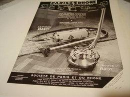 ANCIENNE PUBLICITE ASPIRATEUR PARIS ET DU RHONE ASPIRON BABY  1938 - Advertising
