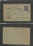 Salvador, El. 1899 (9 Feb) Santa Ana - Germany, Hamburg (6 March) 3c Blue Stat Card. Fine Used + Depart Comercial Oval C - El Salvador