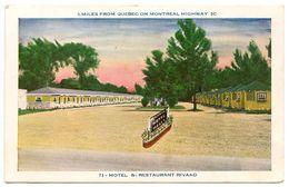 Canada Vintage Postcard  Rivard Motel & Restaurant - Montreal Highway 2C - Quebec
