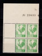 YV 630 N** Bloc De 4 Coin De Feuille Avec Numero De Serie De La Feuille - 1944 Coq Et Marianne D'Alger