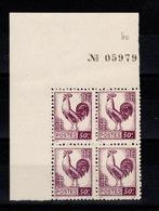 YV 631 N** Bloc De 4 Coin De Feuille Avec Numero De Serie De La Feuille - 1944 Coq Et Marianne D'Alger