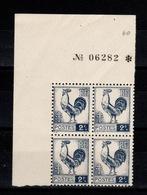 YV 640 N** Bloc De 4 Coin De Feuille Avec Numero De Serie De La Feuille - 1944 Coq Et Marianne D'Alger