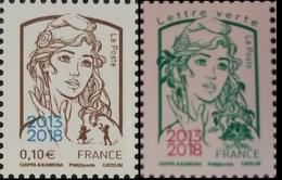 """Timbres France 2018 Marianne 0,10€ Et Lettre Verte Surchargés """"2013-2018"""" Neuf ** - 2013-... Marianne De Ciappa-Kawena"""