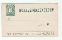 1890 Finland STADSPOSTEN HELSINGFORS Korrespondenskort POSTAL STATIONERY COVER  Stamps - 1856-1917 Russian Government
