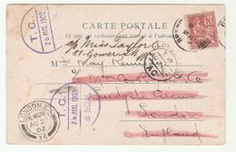 1902 FRANCE To GB C/o THOMAS COOK London REDIRECTED To GOWER STREET Cover (postcard Le Pont St Bruno Bridge) - Covers & Documents