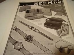 ANCIENNE PUBLICITE MONTRE ET SAC  HERMES 1939 - Autres