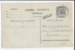 BELGIQUE - 1920 - CARTE Avec MARQUE LINEAIRE De HOCKAI + DATEUR STAVELOT - Marcophilie