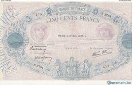 """Billet De Banque .france """"bleu Et Rose"""" 500 Francs 1938 - 500 F 1888-1940 ''Bleu Et Rose''"""