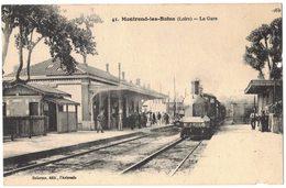 TRANSPORT FERROVIAIRE : Gare Avec Train De Voyageurs Locomotive à Vapeur : Montrond Les Bains - Stations With Trains
