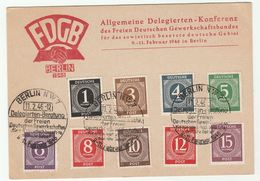 1946 Berlin SOVIET TRADE UNION CONFERENCE Event COVER FDGB Card ALLIED GERMANY Stamps - American,British And Russian Zone