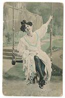 European Vintage Postcard Woman On Swing - Autres