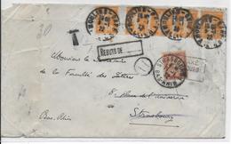 1922 - ENVELOPPE De MOULINS (SEMEUSE) => STRASBOURG TAXEE Puis DETAXEE Avec RARE CACHET DETAXE ! => REBUTS - Lettres Taxées