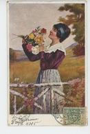 "POLOGNE - POLAND - POLSKA - Portrait Femme Et Roses "" ROZE "" - Illustrateur L. ZAKRZEWSKI - Polen"