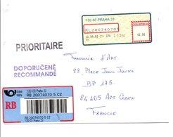 TCHEQUE REP. VIGNETTE DE DISTRIBUTEUR SUR LETTRE RECOMMANDEE DE PRAGUE POUR LA FRANCE 2003 - Tchéquie