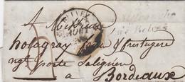 LETTRE.14 AOUT 38. DORDOGNE T12 BALVEZ ET CURSIVE 23/Villefranche/ De Belvez POUR BORDEAUX / 2 - 1849-1876: Classic Period