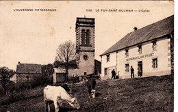 Le Puy Saint Gulmier. L'Eglise. Restaurant Louis Fradet. - France