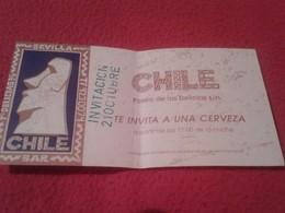 SPAIN ESPAGNE. TICKET VALE INVITACIÓN A UNA CERVEZA BEER BAR CHILE PASEO DE LAS DELICIAS SEVILLA MOAI 1993 MOAIS PASCUA - Documentos Antiguos