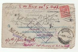 WWI COVER Mailed Aug 1917 Til Apr 1918 Unable Locate Recipient VARIOUS HOSPITAL SOUTH AFRICA INDIA FORCES BASE Marks GB - Militaria