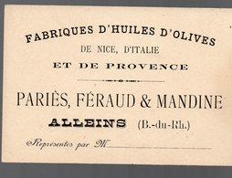 Alleins (13 Bouches Du Rhône) Carte PARIES FERAUD ET MANDINE  Huiles D'olives  (PPP13994) - Pubblicitari