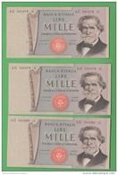 3 X 1.000 1000 Mille Lire Giuseppe Verdi 1975 Serie E Numeri Consecutivi - [ 2] 1946-… : Républic