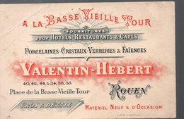 Rouen (76 Seine Maritime)   Carte VALENTIN HEBERT Porcelaines Cristaux Faiences (PPP13996) - Publicités
