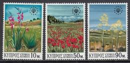 Cyprus 1970 -  Year Of Nature Conservation: Wild Flowers, Landscapes - Mi 335-337 MNH ** - Chypre (République)