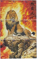PUZZLE DE 9 TARJETAS DE CHINA DE UN LEON (LION) - Tarjetas Telefónicas