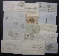 Lot De 15 Lettres Taxées, Entre 1841 Et 1858  Voir Photo ! - Marcophilie (Lettres)