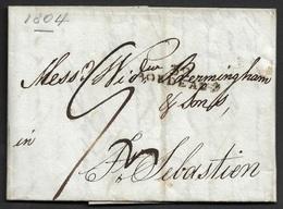 1804 LAC Bordeaux A San Sebastian, Espagne. Commerce De Vin - Marcophilie (Lettres)