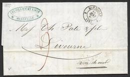 1855 LAC Marseille A Livorno, Italie - Voie De Mer - Marcophilie (Lettres)