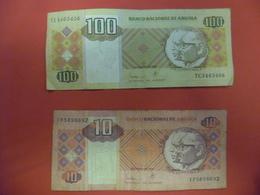 LOT 2 BILLETS ANGOLA De 10 Et 100 KWANZAS De 1999 - Angola