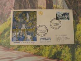 La Grotte De La Vierge - Lourde (65) 12.6.1954 < FDC 1er Jour > Coté 7€, N°976 Y&T - 1950-1959
