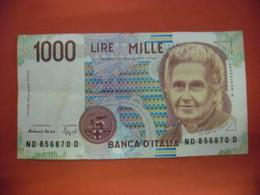 Billet ITALIE 1000 Lire SUP De 03/10/1990  Portrait De Montessori Maria @ KM : 114 - [ 2] 1946-… : Républic