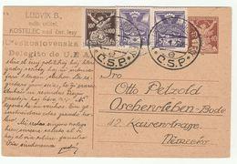 1922 Kostelec ESPERANTO Czechoslovakia UPRATED Postal STATIONERY CARD From UEA DELEGATE, Cover Stamps - Czechoslovakia