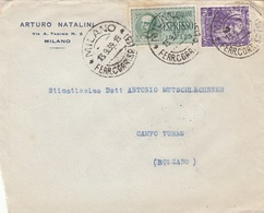 ITALIEN 1939 - 50 C + 1,25 L Espresso Auf Firmenbrief MILANO > CAMPO TURES - 1900-44 Victor Emmanuel III.