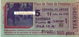 Billet De Corrida 11/07/1961 PLAZA TOROS DE PAMPLONA - Scans Recto-verso - Tickets D'entrée