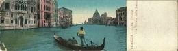 """857 """" VENEZIA - CANAL GRANDE E CHIESA DELLA SALUTE CON GONDOLA """" MINI-CART ILLUSTRATA ORIG   SPED. - Venezia"""