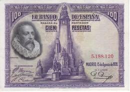 BILLETE DE 100 PTAS DE 1928 DE CERVANTES SIN SERIE  CALIDAD EBC (XF) (BANKNOTE) - [ 1] …-1931 : First Banknotes (Banco De España)
