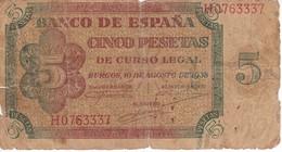 BILLETE DE ESPAÑA DE 5 PTAS DE BURGOS DEL AÑO 1938 SERIE H  (BANKNOTE) - 5 Pesetas