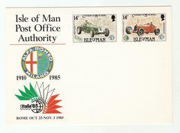 1985 ALFA ROMEO MOTOR RACING 75th Anniv EVENT POSTAL STATIONERY Card Italia Exhibition Isle Of Man Stamp Sport Italy Car - Cars