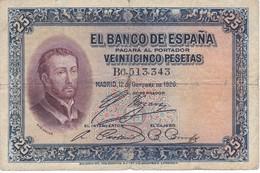 BILLETE DE ESPAÑA DE 25 PTAS  DEL AÑO 1926 SERIE B CALIDAD BC  (BANKNOTE) - [ 1] …-1931 : Primeros Billetes (Banco De España)