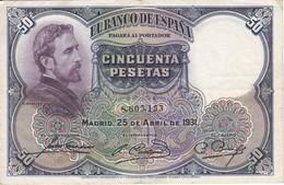 BILLETE DE 50 PTAS DEL AÑO 1931 DE  E. ROSALES SIN SERIE CALIDAD MBC (VF)  (BANKNOTE) - [ 1] …-1931 : Primeros Billetes (Banco De España)