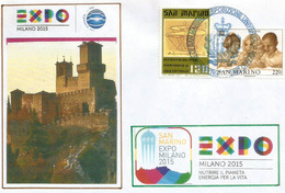 SAN MARINO.EXPO MILAN 2015 (Forteresse De Guaita),lettre Souvenir Avec Timbre SAN MARINO,du Pavillon & Tampon Officiel - Saint-Marin