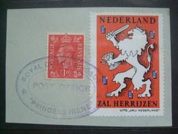 GB WW2 Netherlands Postal Seal WW2 - Zal Herruzen - Royal Dutch Brigade Princess Irene Cachet - Postal History