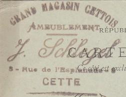 Carte Commerciale 1899 / Entier / J. SCHLEGEL / Grands Magasins Cettois / Ameublement / 34 Cette - Maps