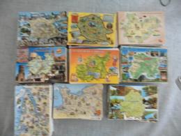 LOT DE 624 CARTES POSTALES  CONTOURS ET GEOGRAPHIQUES DE  REGIONS  FRANCAISES - Cartoline