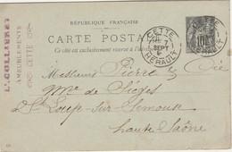 Carte Commerciale 1897 / Entier / L. CUILLERET / Ameublement / 34 Cette Hérault - Maps