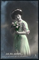 B5395 - Hübsche Junge Frau Im Kleid - Mode Frisur - Pretty Young Women - Coloriert - Mode